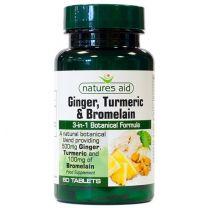 Natures Aid Ginger Turmeric Bromelain